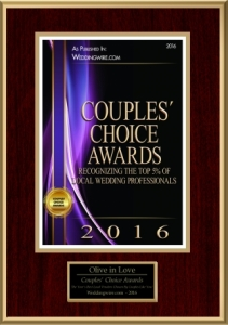 Olive in Love couples choice award on weddingwire