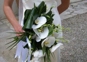 Cascading shape orchid bridal bouquet