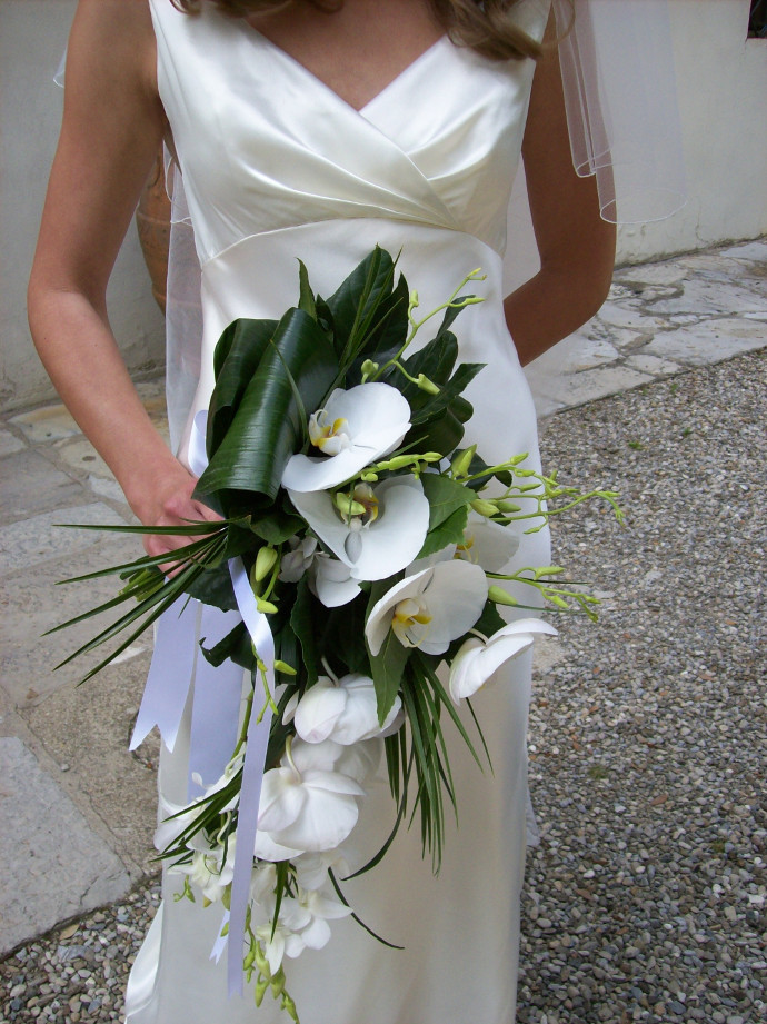 Cascading shape orchid bridal bouquet