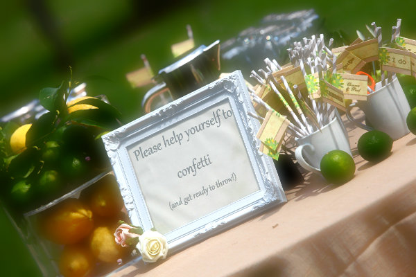 Lovely small wedding things displayed on tbales during wedding reception