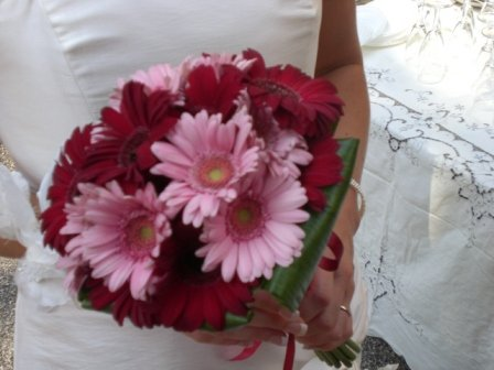 red and pink gerberas bridal bouquet
