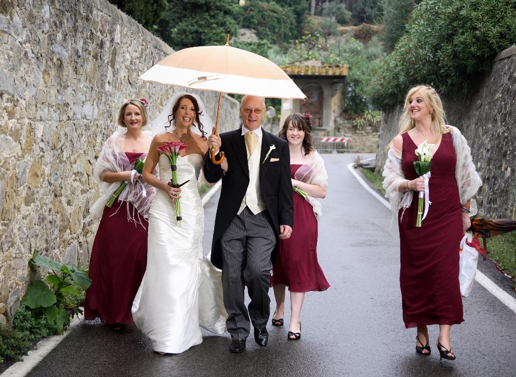 Bride on the way to wedding ceremony