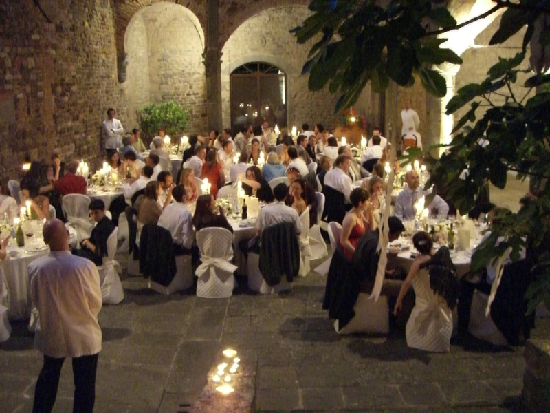 Wedding illumination in Castle courtyard