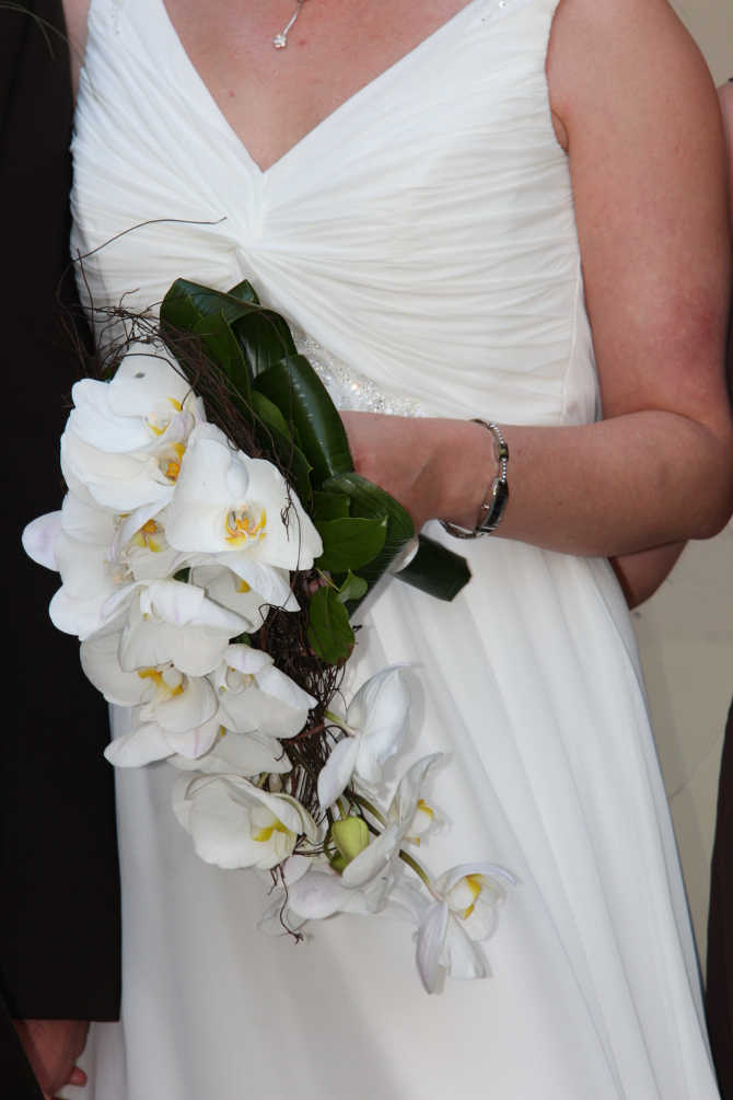 bridal flower bouquet white orchids