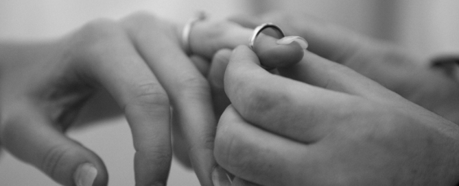 Exchange of wedding rings during wedding ceremony