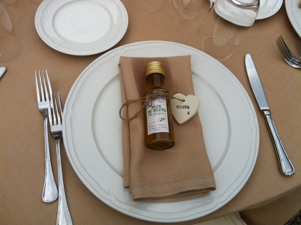 Olive oil bottle as wedding favour