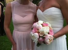 bridal bouquet pink and white peonies