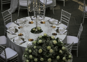 White and silver table design