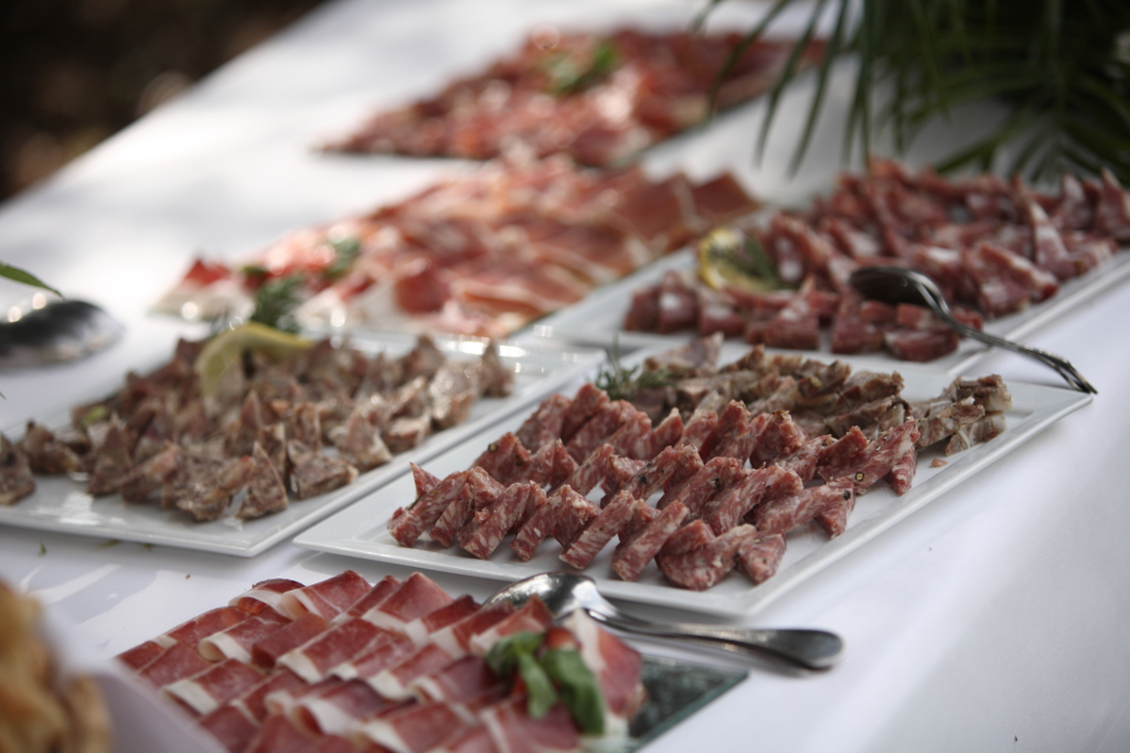 Tuscan wedding buffet with cured meats