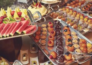 Tuscan wedding dessert buffet table