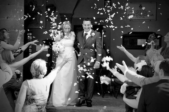 Throwing of confetti  after wedding ceremony