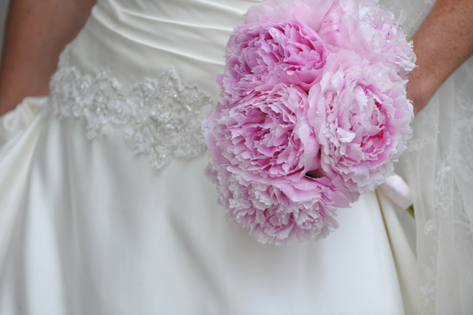 Bridal bouquet with large pink peonies