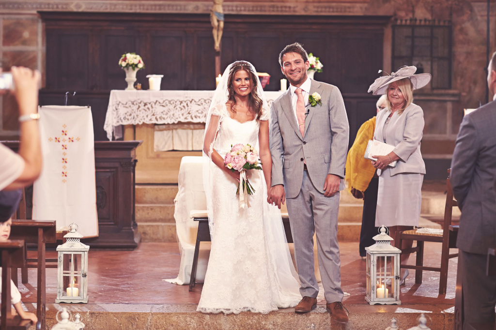 Just married in a tiny Tuscan village church