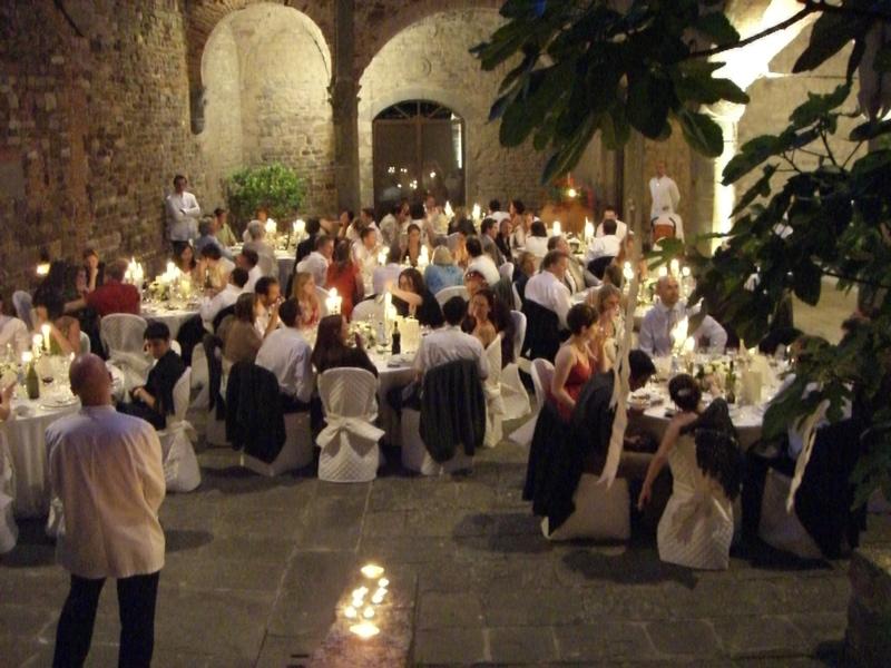 Wedding illumination in Castle courtyard