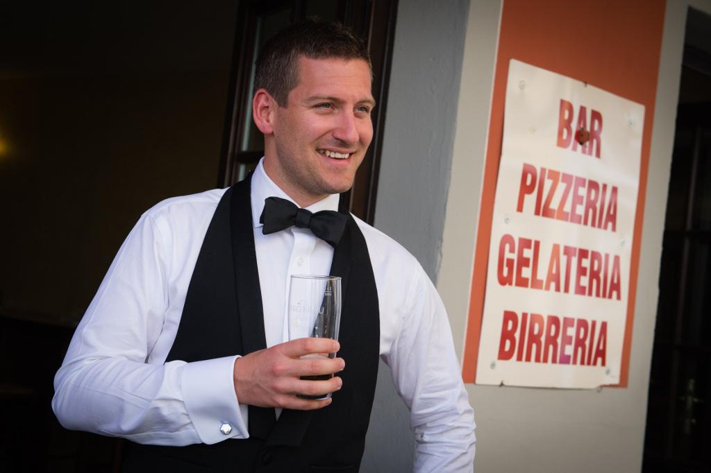 Grooms wedding preparation,cheers!