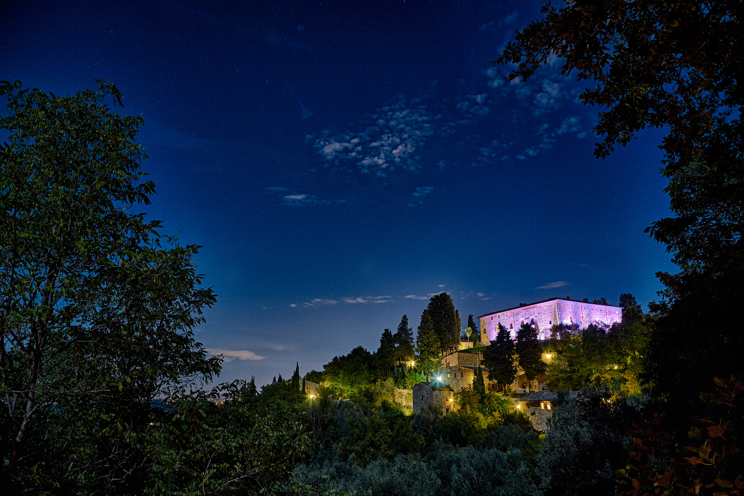 Castle illuminated with pink spots