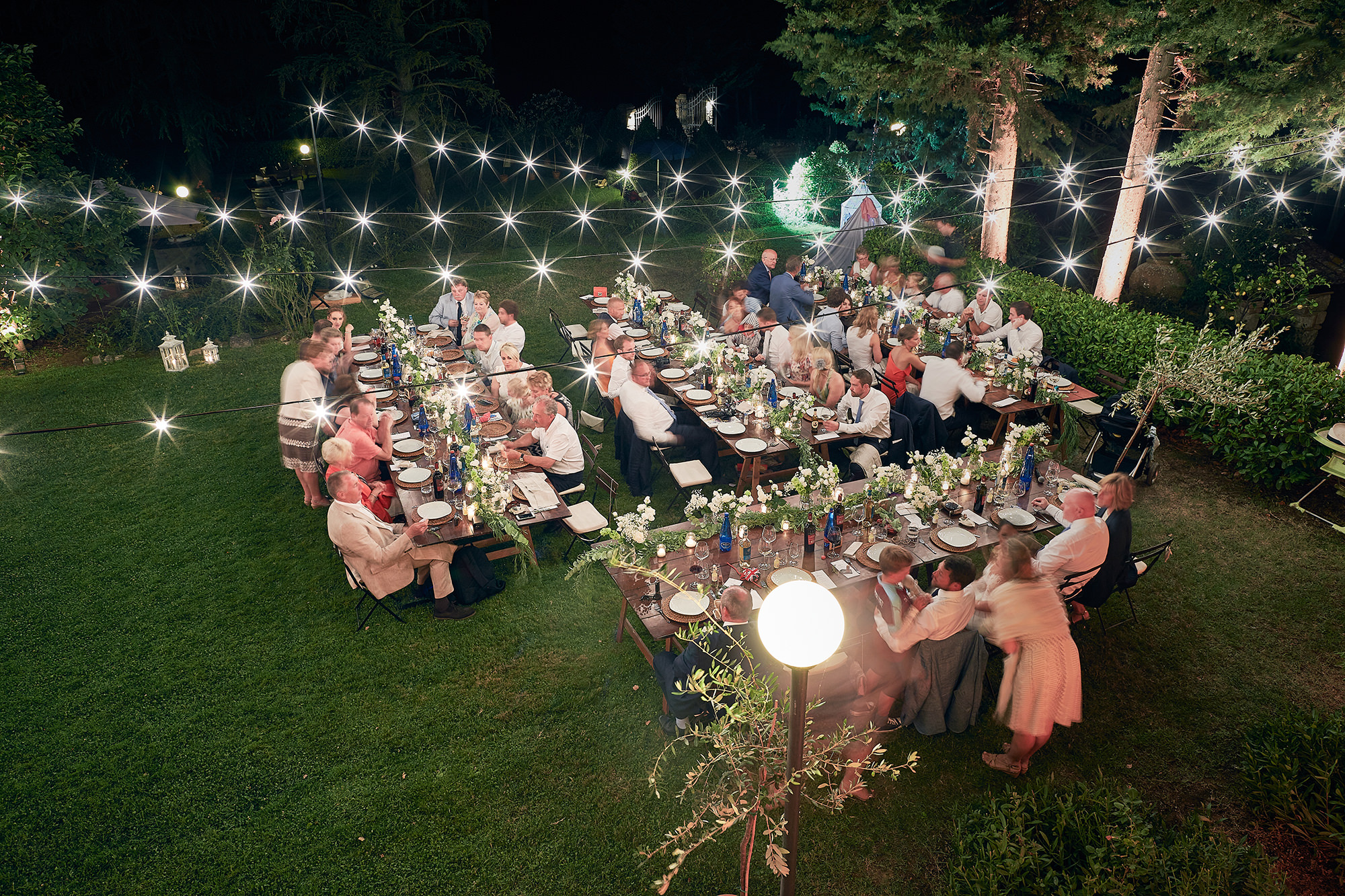 Country wedding with string lights