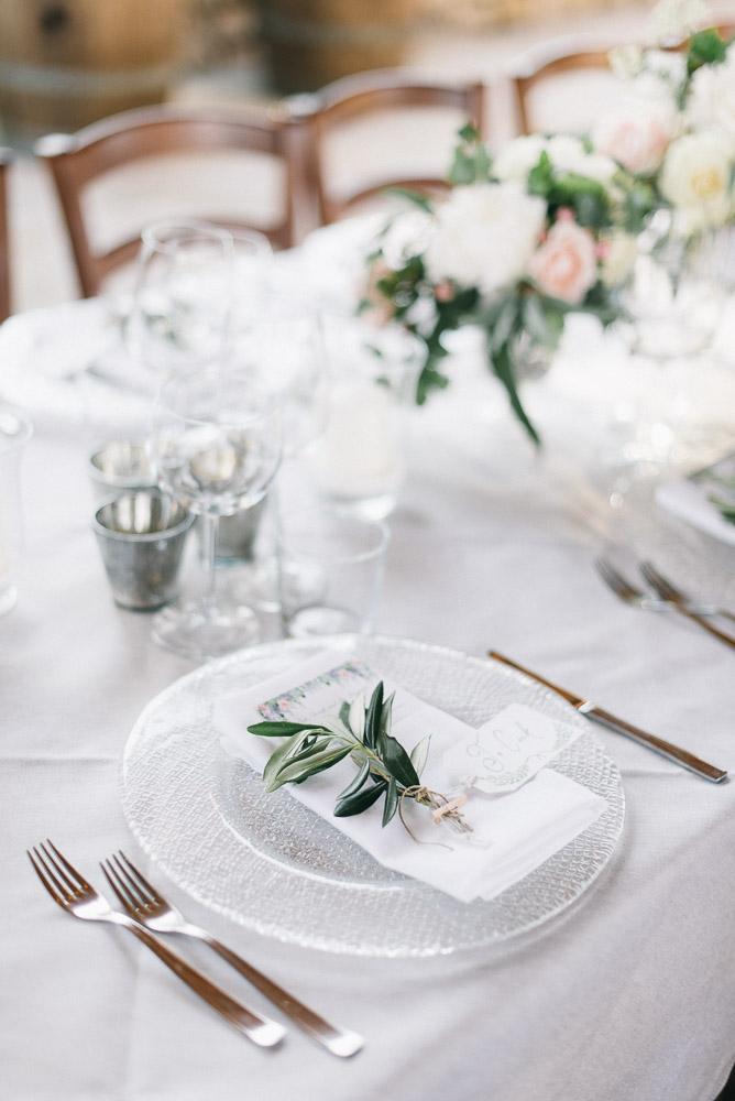Olive branch on wedding menu is always pretty