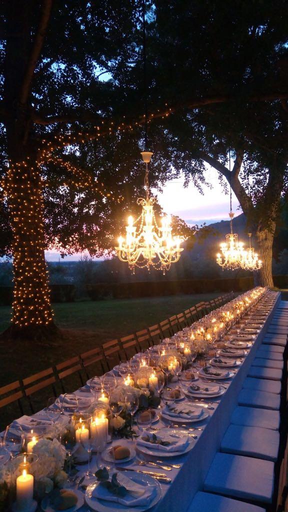 Wedding dinner with elegant chandeliers