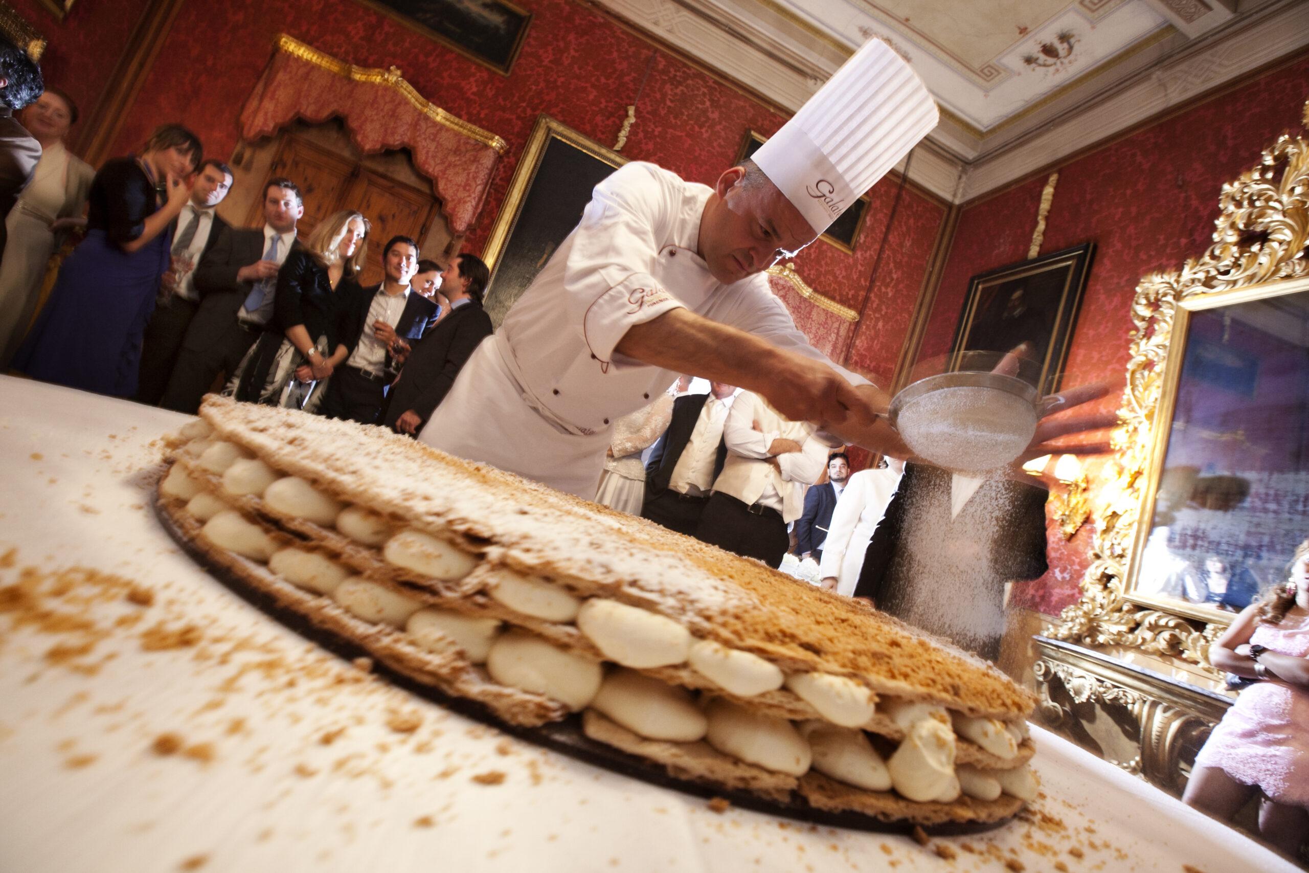 Preparing mille foglie cake on sight