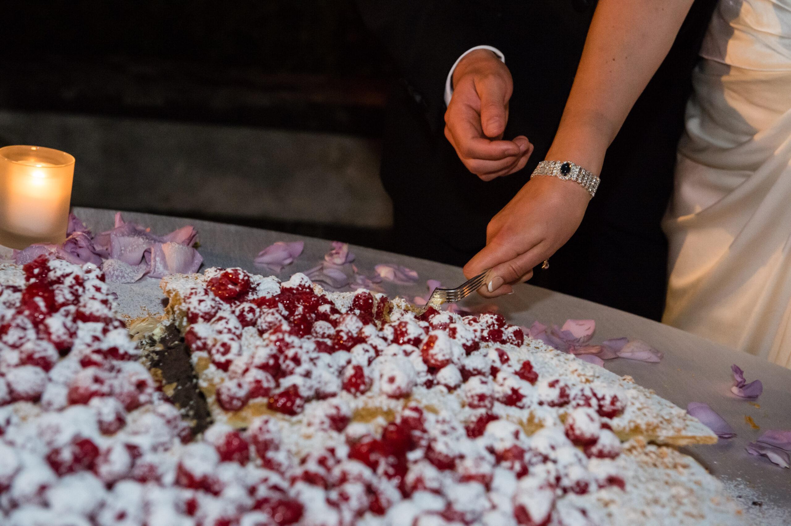 Mille foglie wedding cake with strawberries