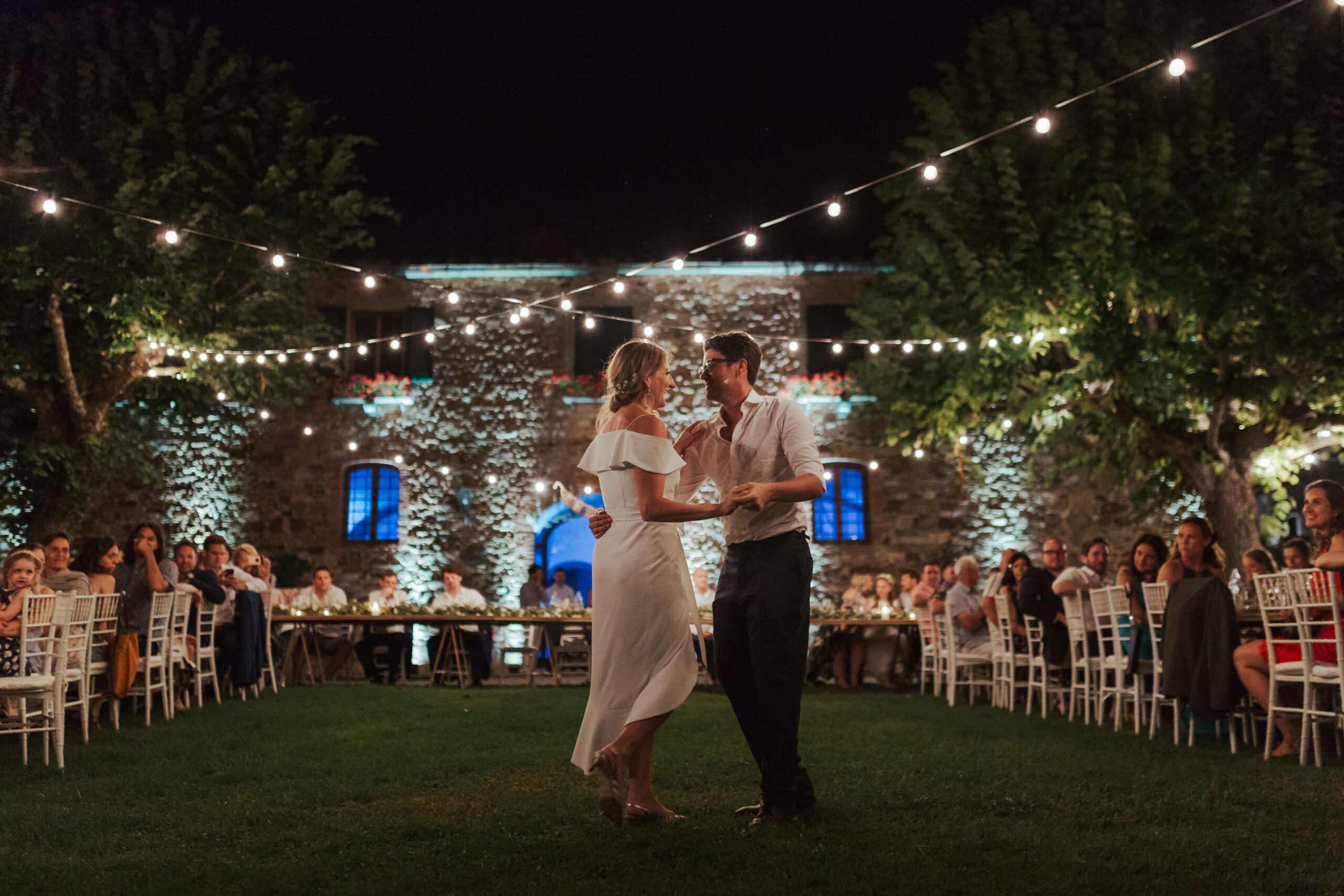 First dance under the Tuscan stars and string lights