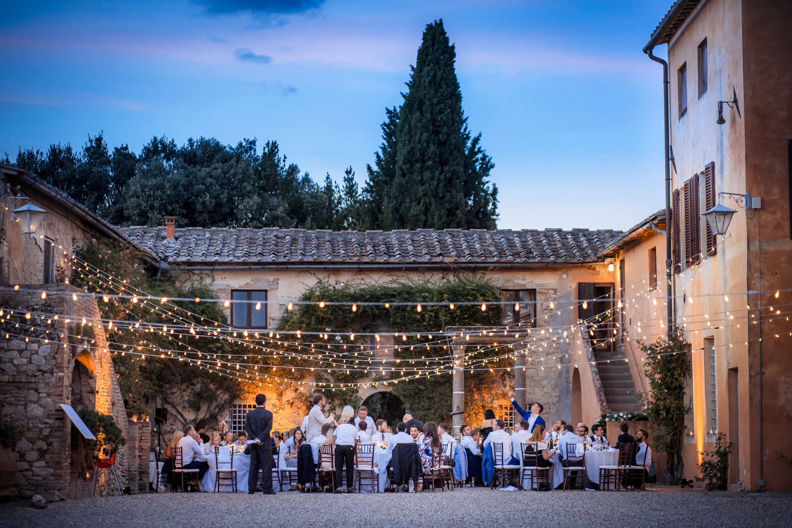 Rustic Country house courtyard illuminated