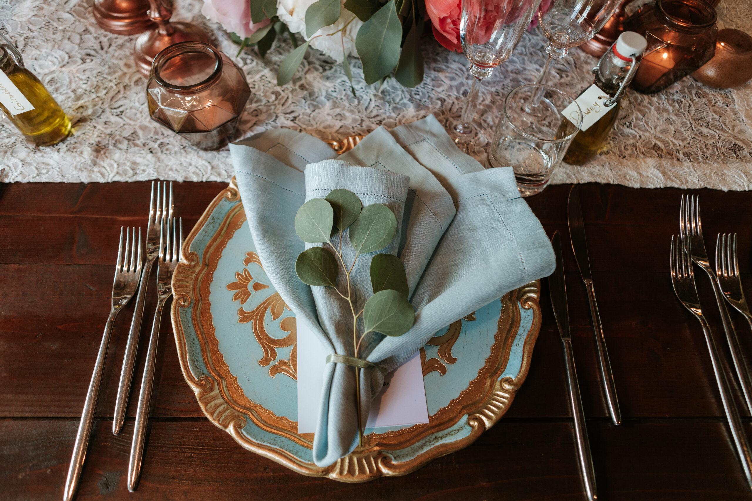 Sugar blue napkin with eucalyptus napkin decor