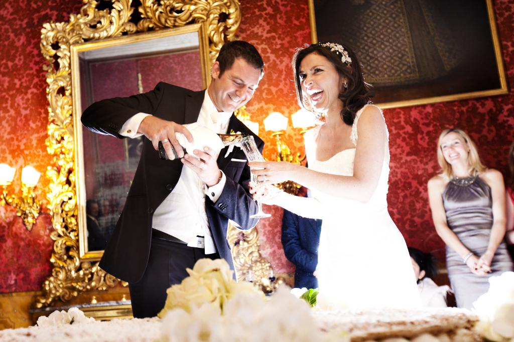 Wedding cake toast