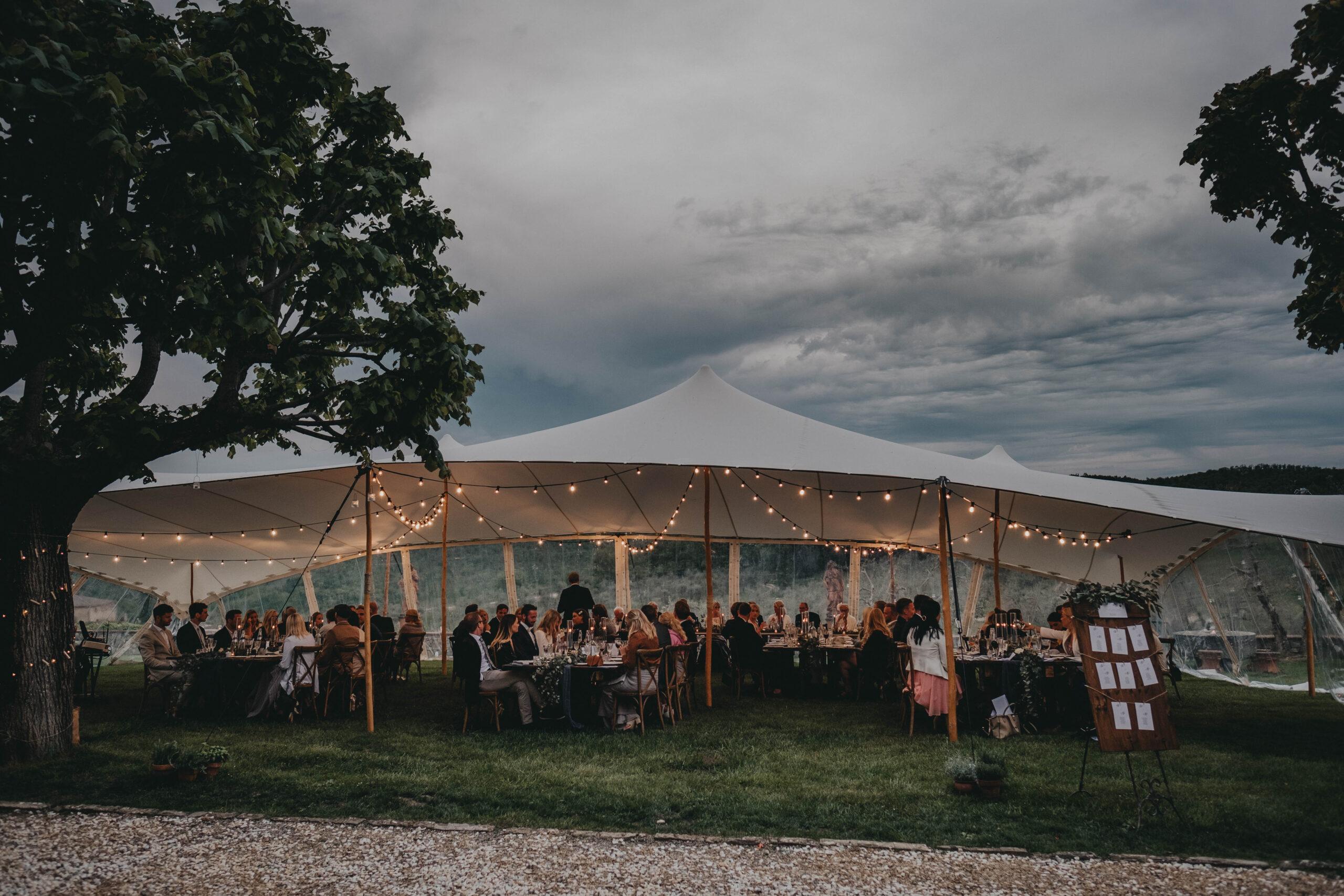 Beautiful wedding marquee in Tuscany