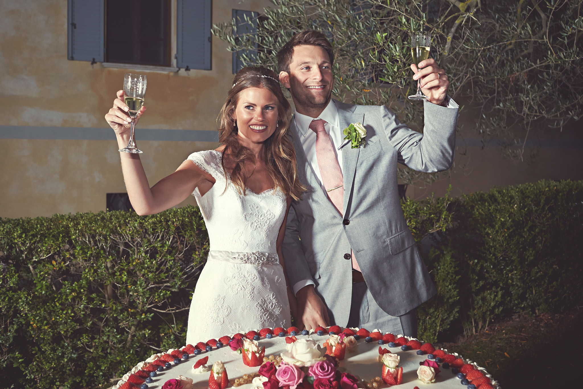Wedding toast with cake and spumante