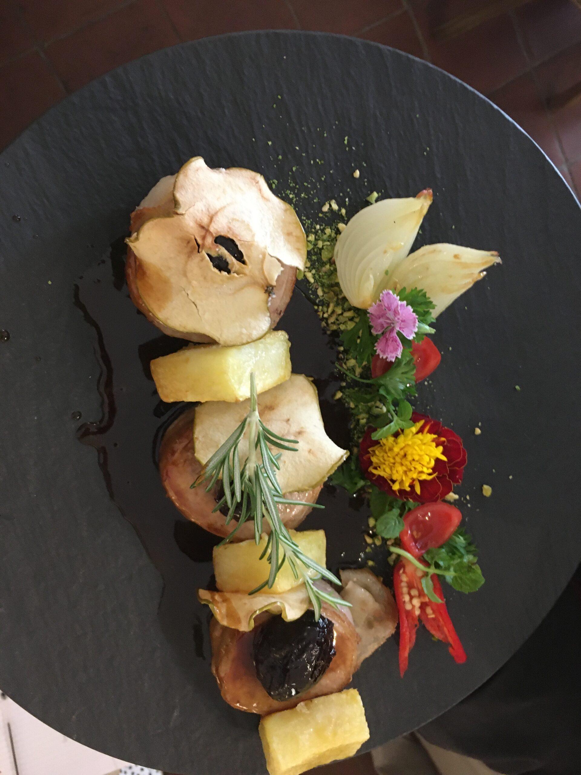 Meat skewer with seasons vegetables